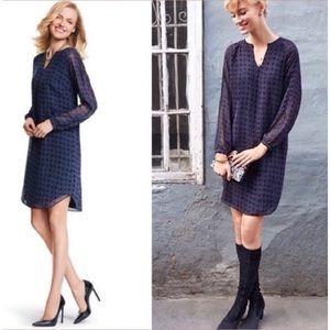 Cabi Harlequin Long Sleeve Slip Dress Small